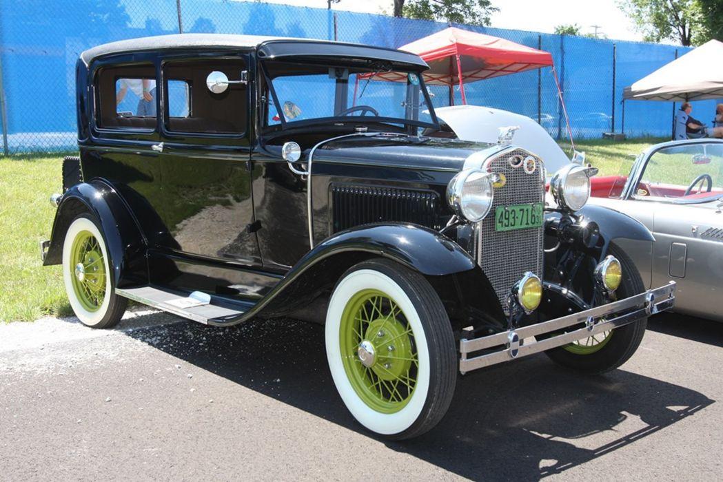 1931 Ford Model-A Tudor Sedan Two Door Classic Old Vintage Retro Original Black USA -01 wallpaper