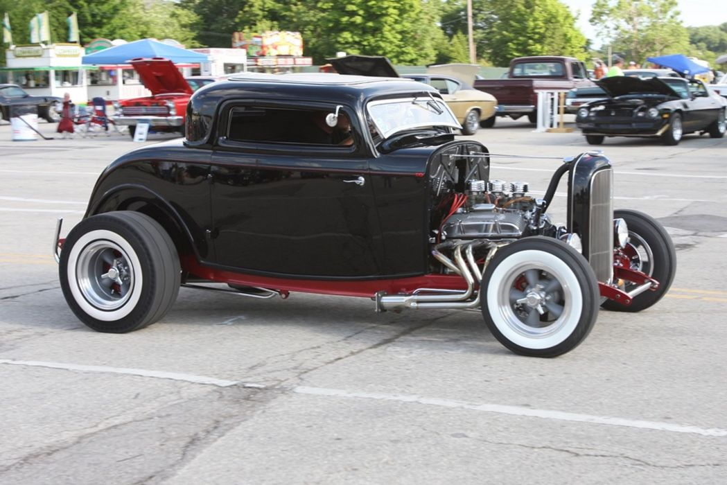 1932 Ford Coupe Hotrod Hot Rod Black USA -01 wallpaper