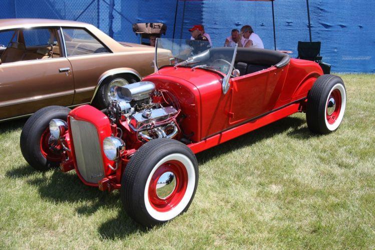 1927 Ford Model-T Rodster Hot Rod Hotrod Red USA -01 wallpaper