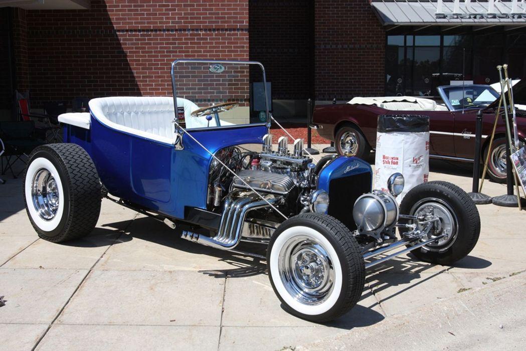 1927 Ford Model-T Tbucket Rodster Hot Rod Hotrod Blue USA -01 wallpaper