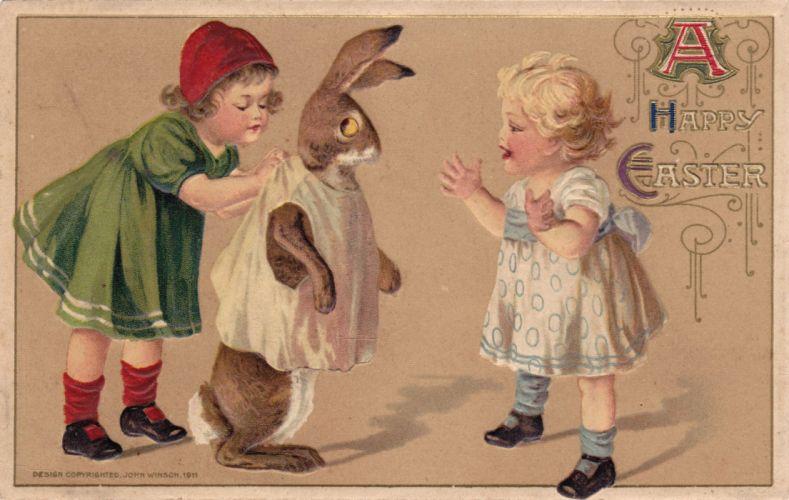 POSTCARD paper poster advertising vintage retro antique easter f wallpaper