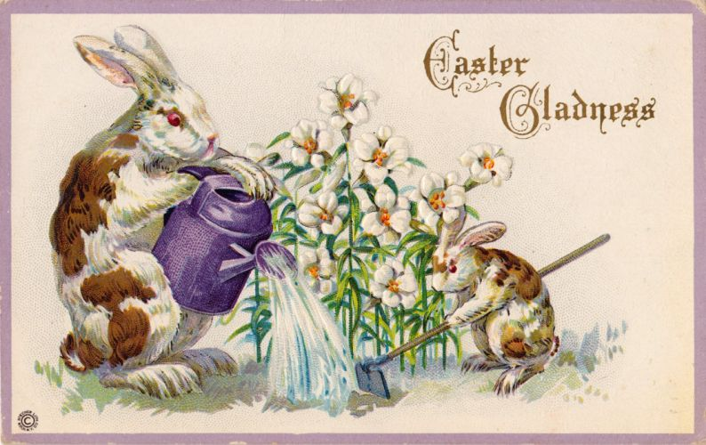 POSTCARD paper poster advertising vintage retro antique easter f wallpaper