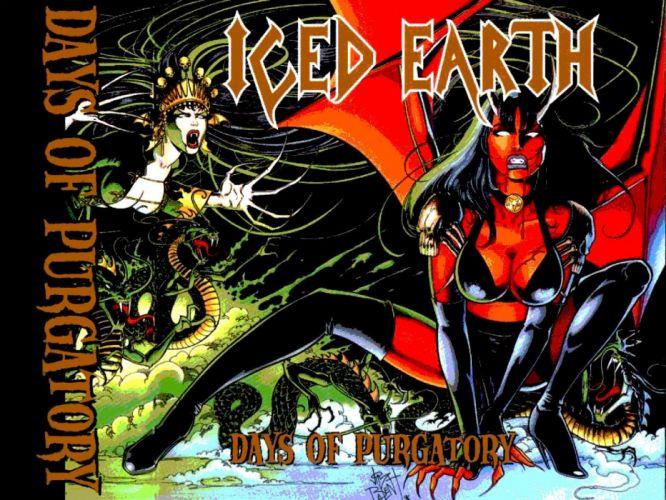 ICED EARTH heavy metal death power thrash 1iced artwork dark evil fantasy poster warrior reaper demon sexy babe wallpaper