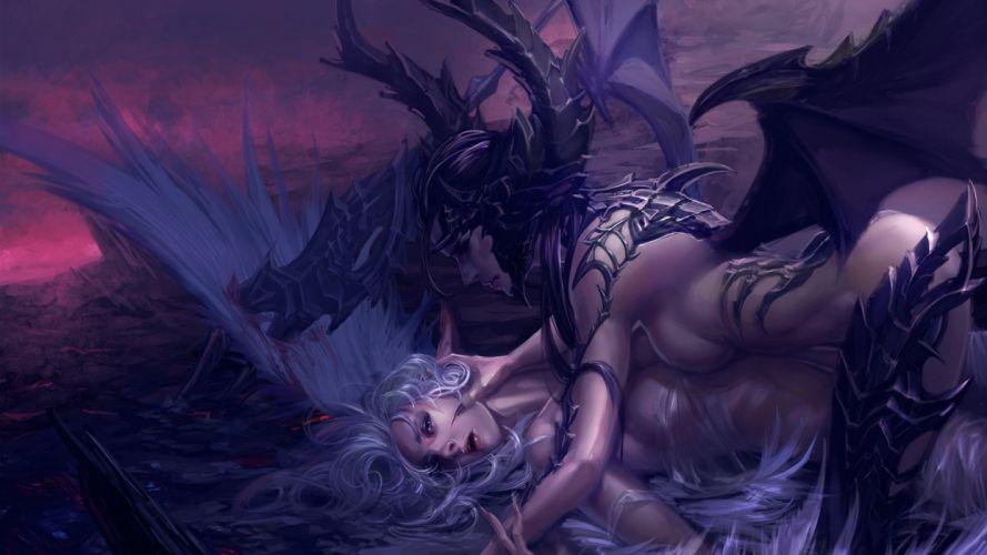 Arts spear angel wings claws horns demon blood wallpaper