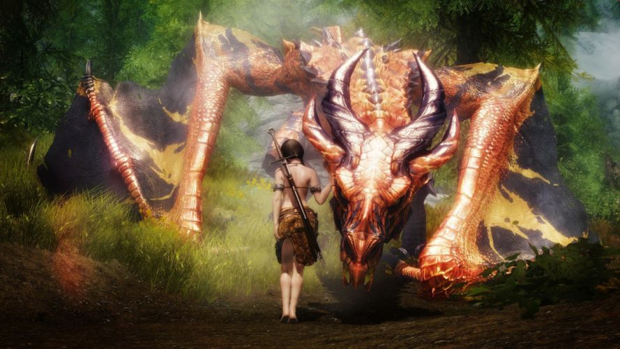 Arts sword dragon fantasy girl wallpaper
