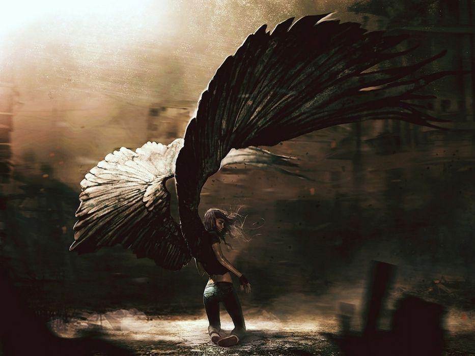 Arts angel girl fallen wings wallpaper