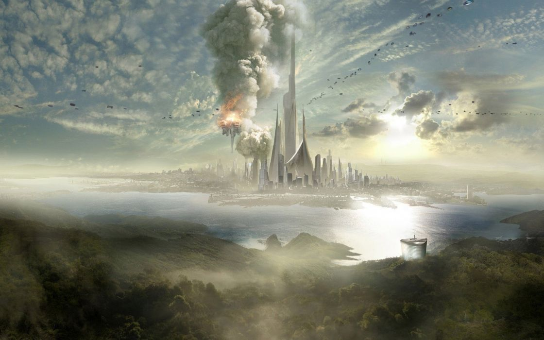 Arts city skyscrapers future fog slopes sea sky wallpaper
