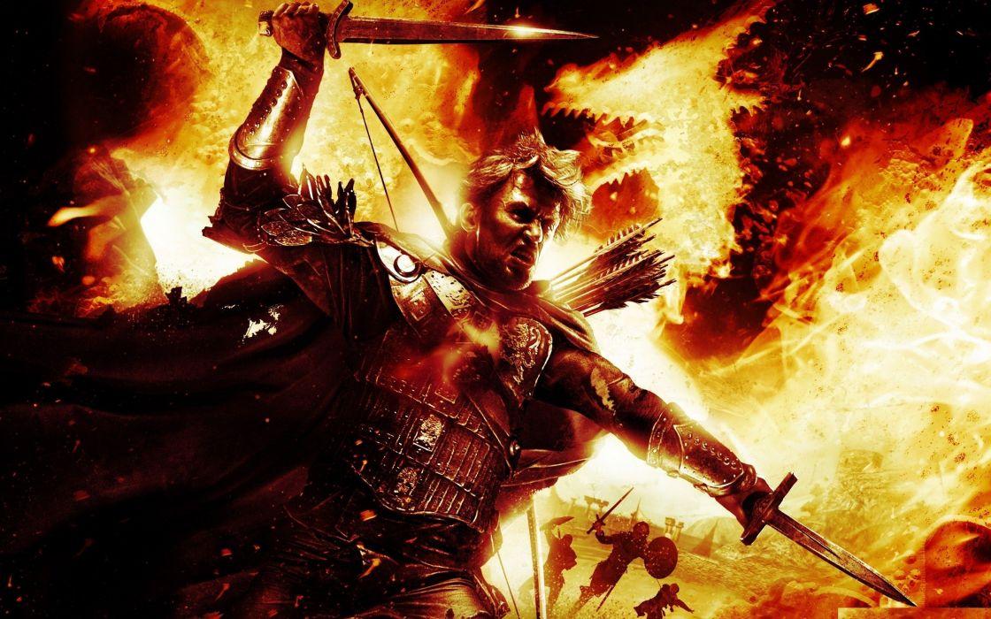 Arts dragons dogma sword fire battle wallpaper