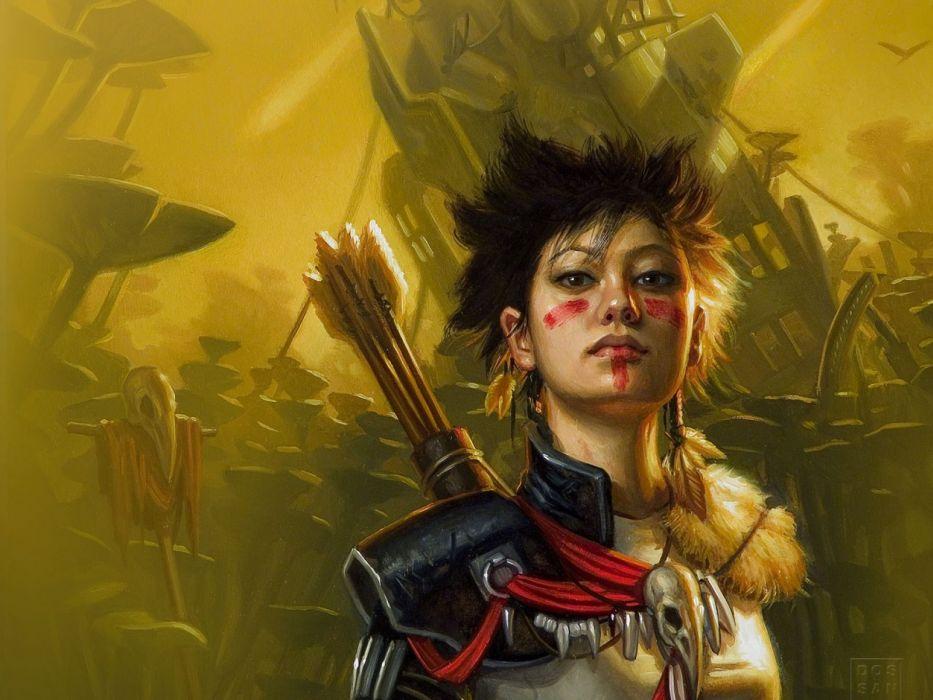 Arts face girl soldier masking arrows warrior wallpaper