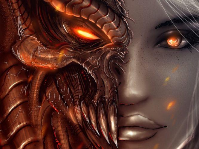 Arts faces diablo 3 girl angel demon eyes wallpaper
