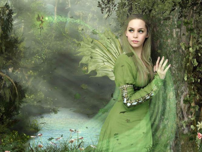 Arts fairy girl wings wood lake wallpaper