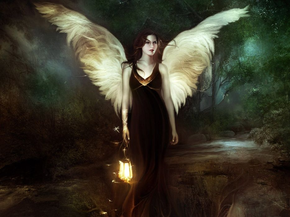Arts girl angel wood lantern night wallpaper