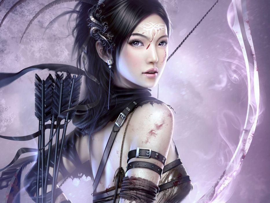 Arts girl archer arrows scratch warrior wallpaper