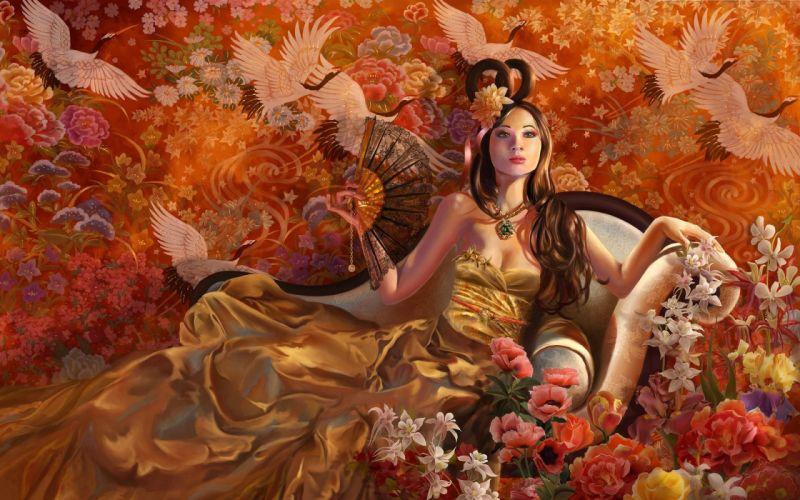 Arts girl birds fan flowers dress wallpaper