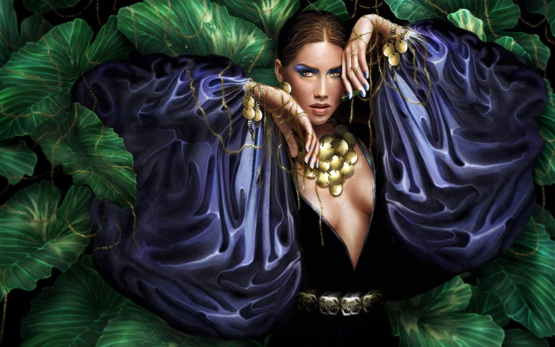 Arts girl dress hands greens sleeves wallpaper