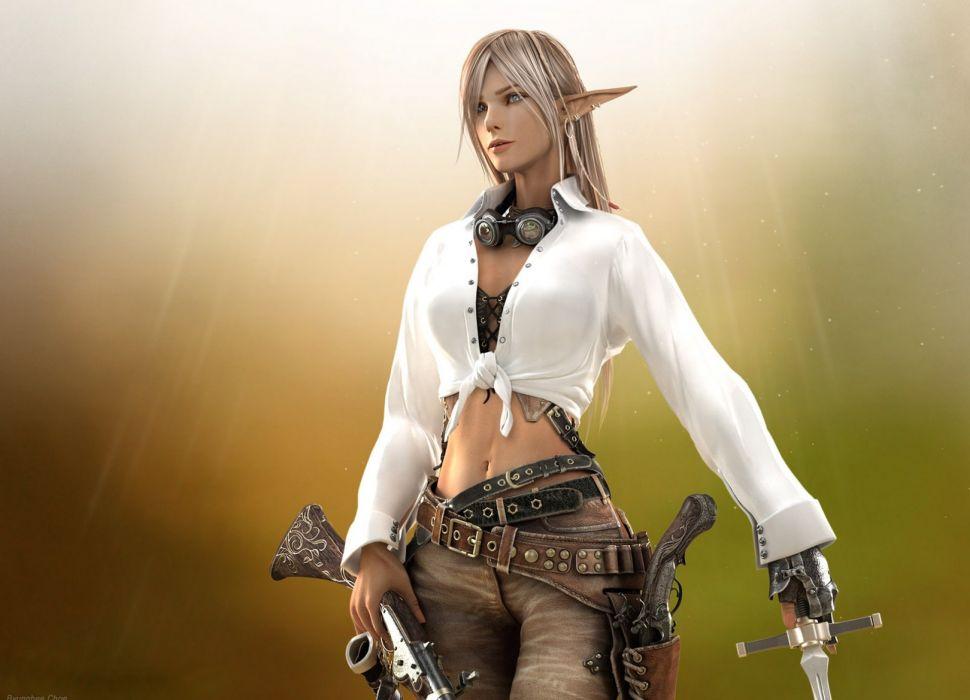 Arts girl elf weapon shirt warrior wallpaper