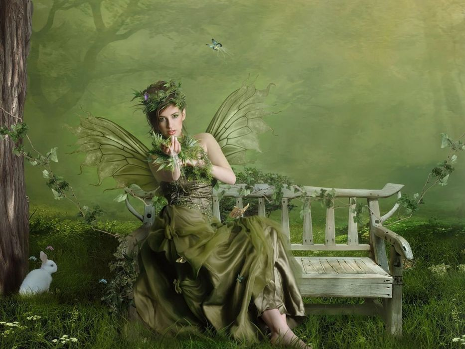 Arts girl fairy wood shop green wallpaper