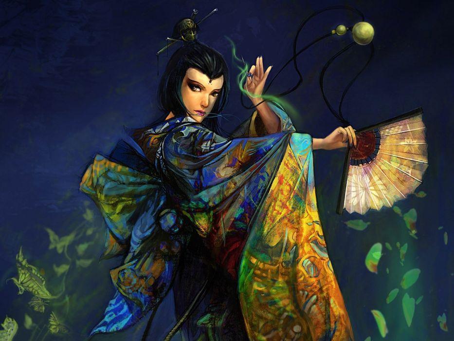 Arts girl fan kimono dance wallpaper