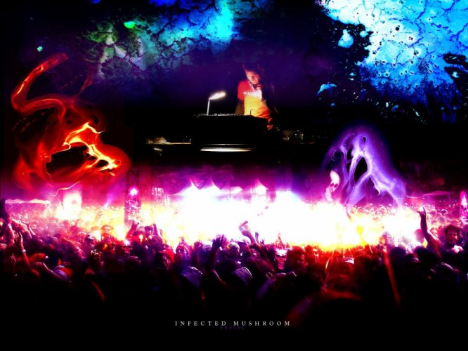 INFECTED MUSHROOM psychedelic trance electro house electronica electronic rock industrial disc jockey 1imush concert crowd wallpaper