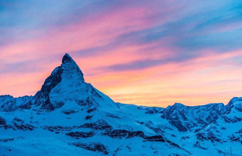 Alps Switzerland Italy Matterhorn mountain evening sunset sky clouds mountains snow wallpaper