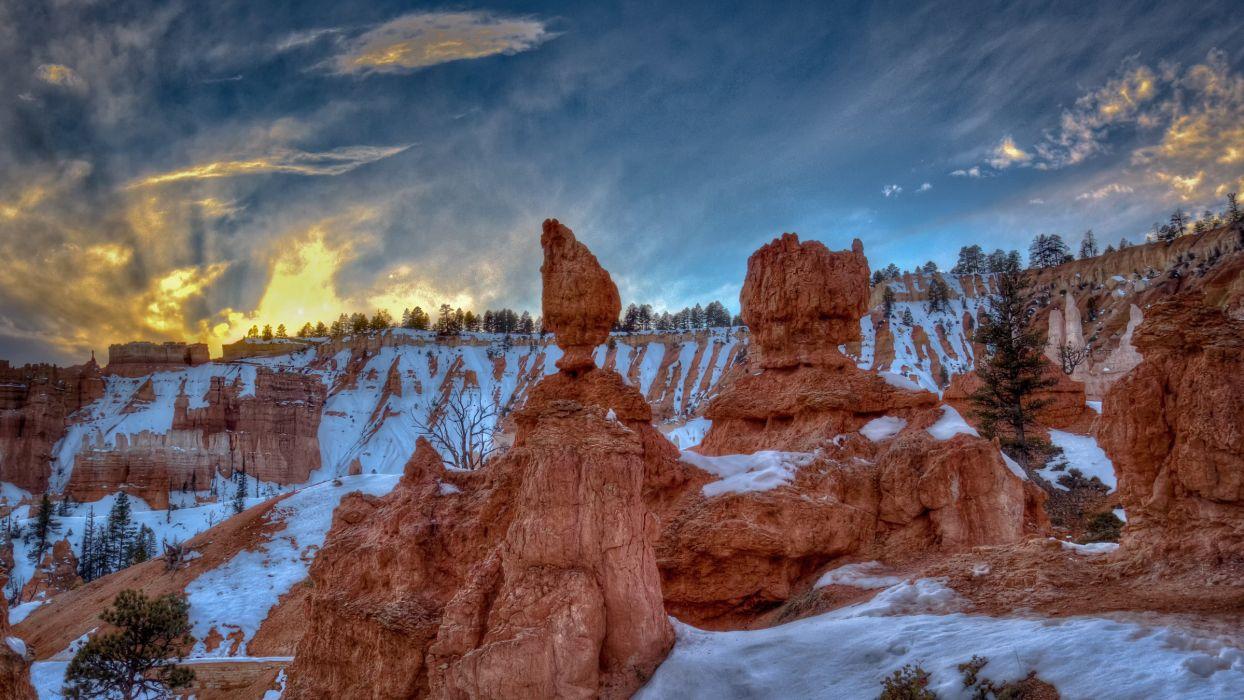 Bryce Canyon Utah mountains rocks landscape sunset wallpaper