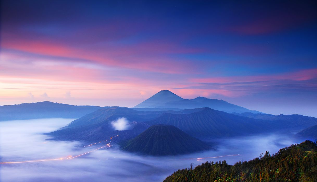 Bromo Indonesia sunset volcano landscape wallpaper
