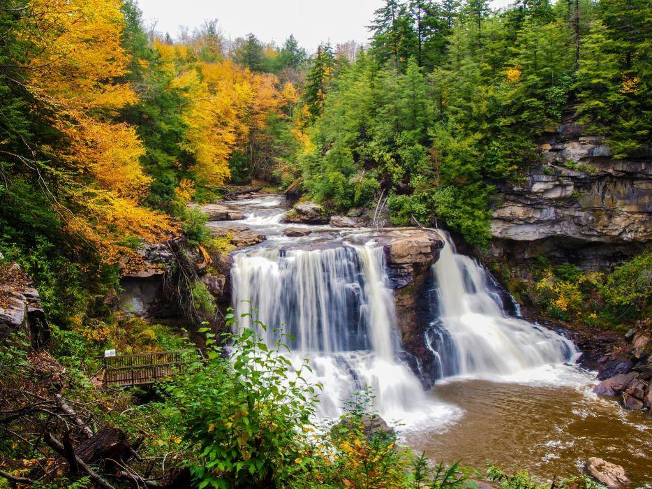 autumn river waterfall rocks ten trees nature wallpaper