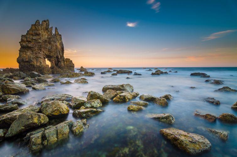 Costa de Cantabria Spain beach shore coast ocean sea f wallpaper