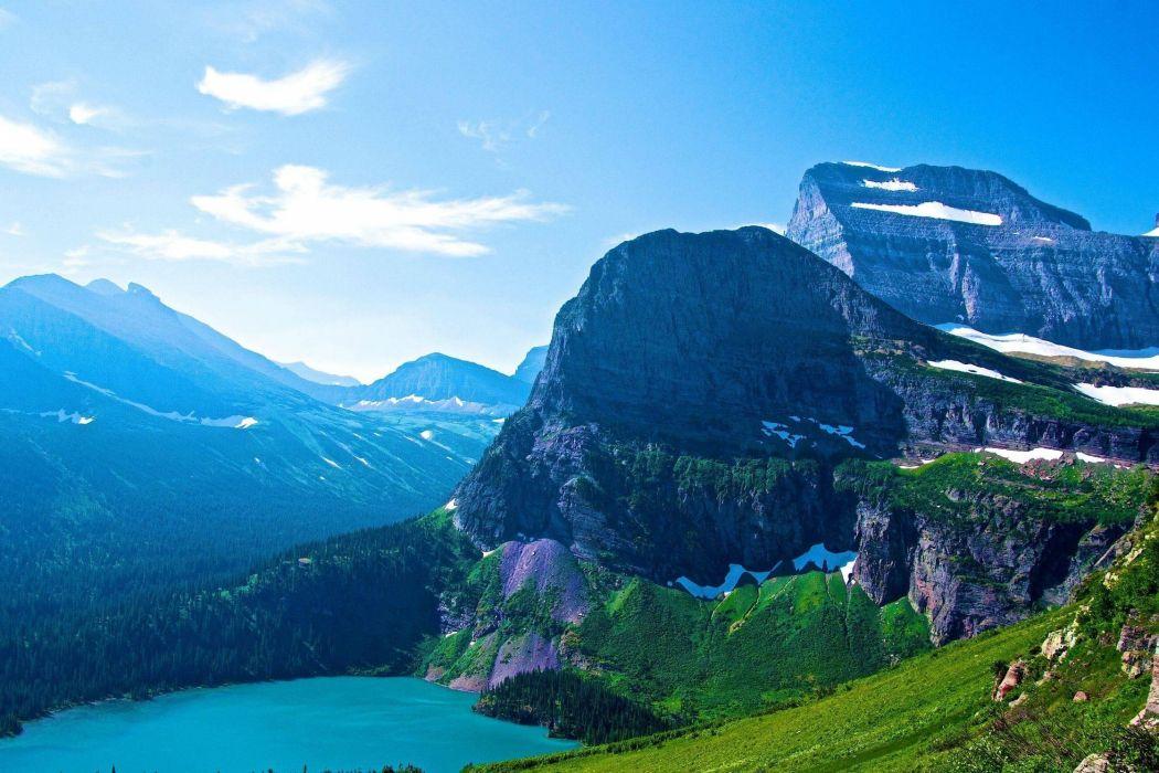 Glacier national park Montana lake mountains wallpaper