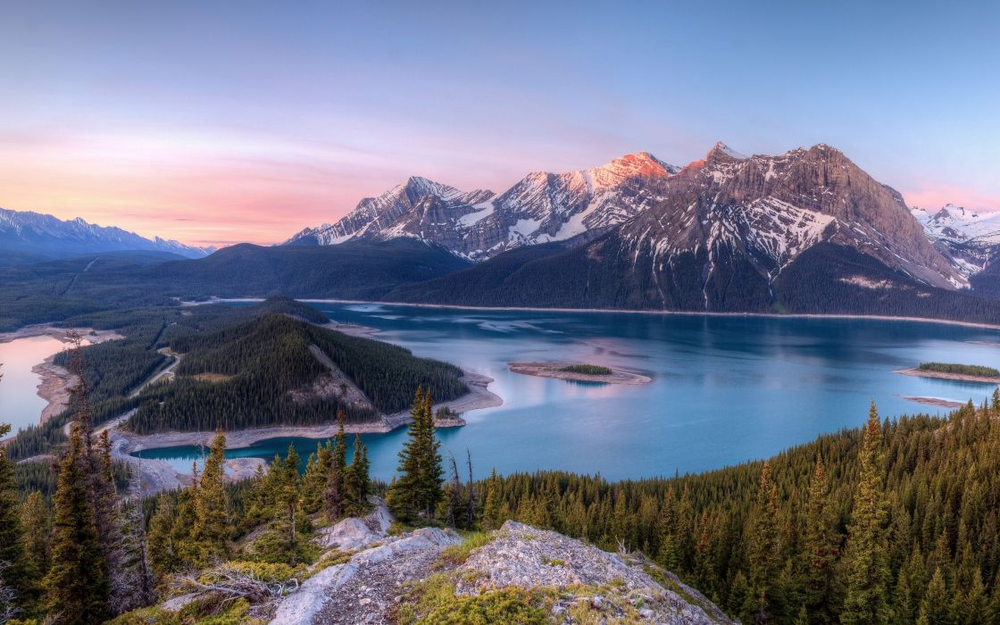 Kananaskis Lakes Canada lake mountains trees landscape panorama wallpaper