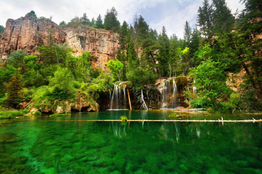 lake rocks waterfalls trees landscape wallpaper