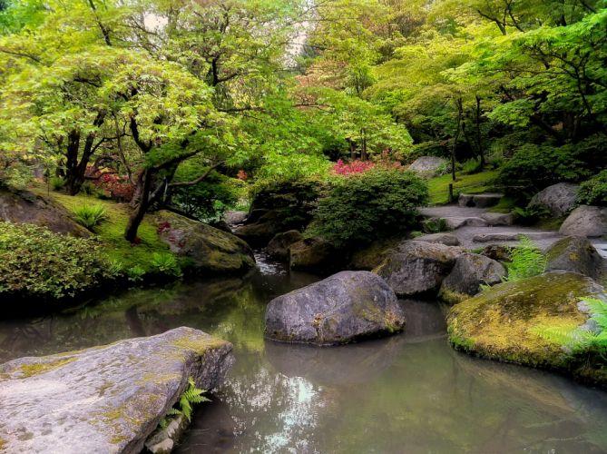 park trees river rocks landscape Japanese Garden wallpaper