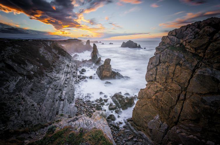 Quebrada Costa de Cantabria Spain ocean sea coast shore beach h wallpaper