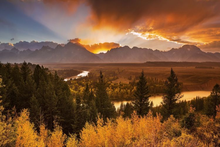 River Overlook Grand Teton National Park sunset mountain river forest trees autumn landscape wallpaper