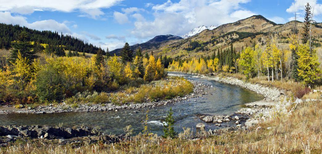 river mountain trees autumn landscape wallpaper