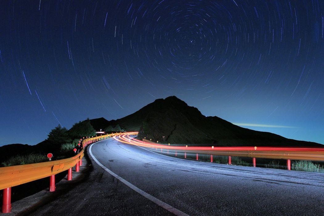 road evening night sky stars wallpaper
