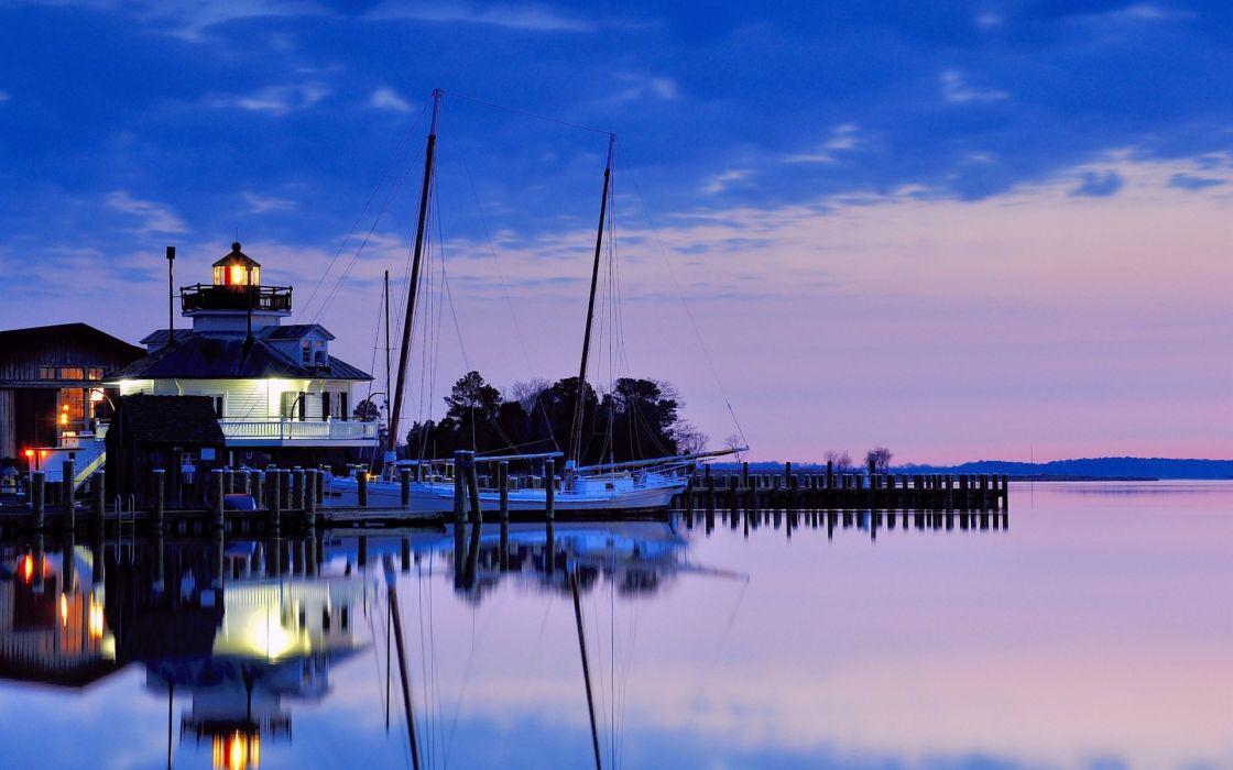 sunset blue lighthouse evening lilac USA wallpaper