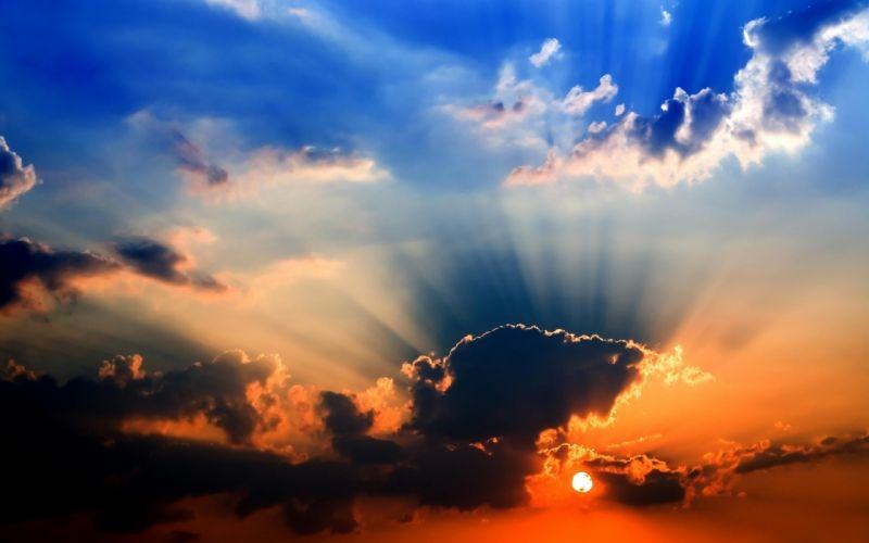 sunset clouds sun sky wallpaper