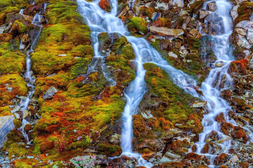 rocky mountain moss waterfalls streams nature wallpaper