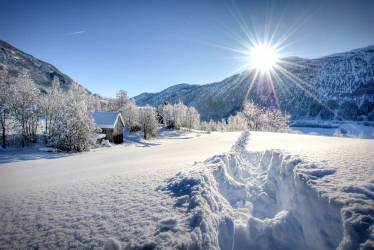 winter mountains trees houses footprints landscape wallpaper
