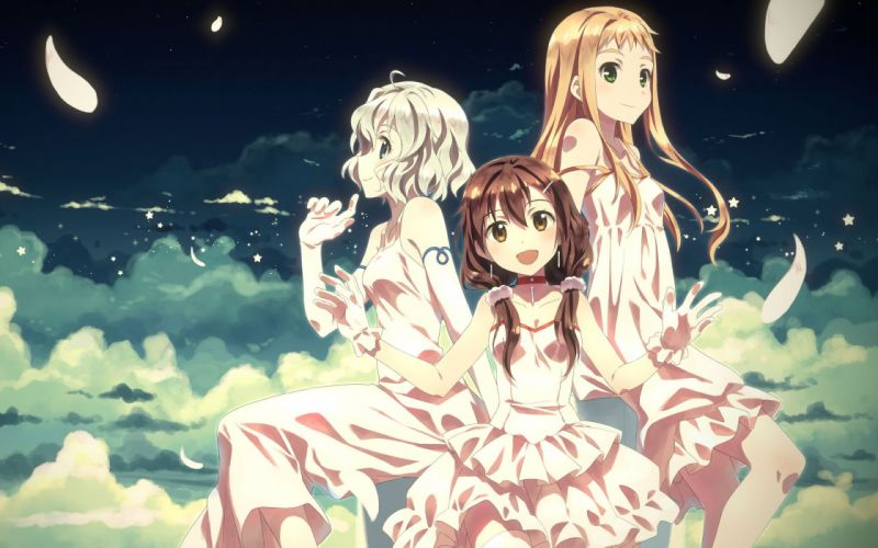 anime girls dress sky clouds smile beutiful wallpaper