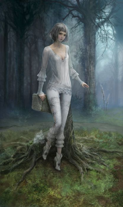 fantasy girl alone forest beauty tree wallpaper