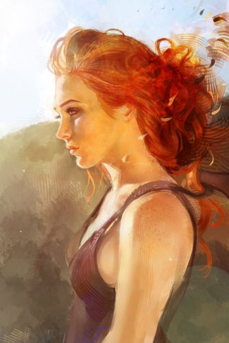 portrait woman girl beauty art red hair wallpaper