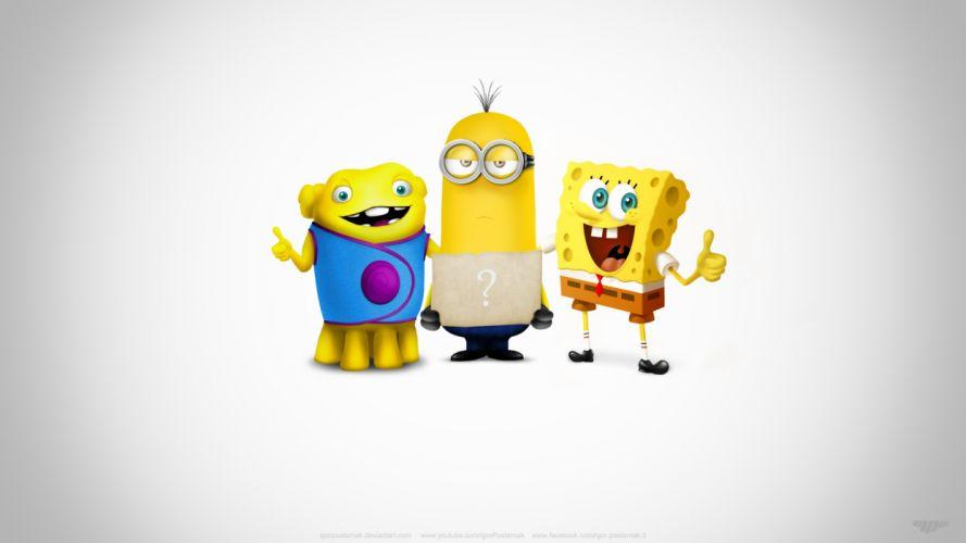 Super Team Oh Kevin Spongebob cartoon wallpaper design cute funny art wallpaper