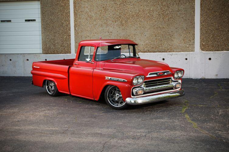 1959 Chevrolet Chevy Apache 3100 Pickup Fleetside Super Street Cruiser USA -01 wallpaper