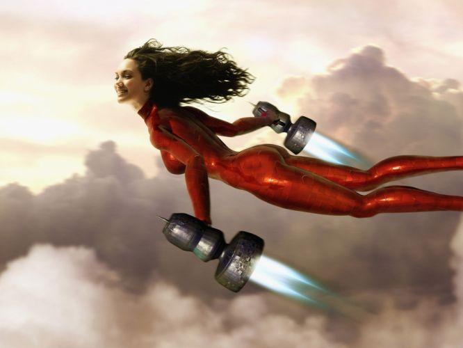 Arts girl flight suit salvation heaven wallpaper