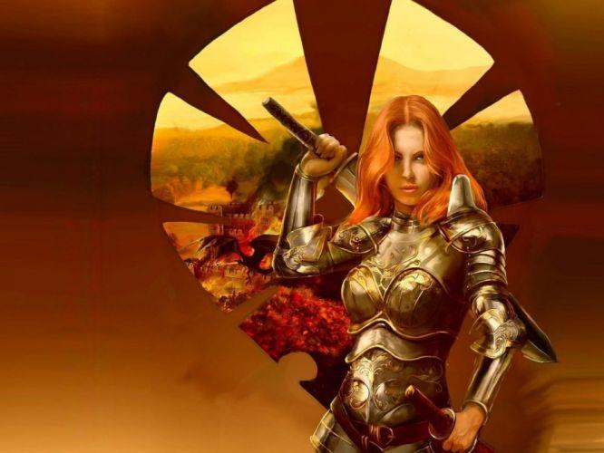 Arts girl soldier armor reflection sword warrior wallpaper