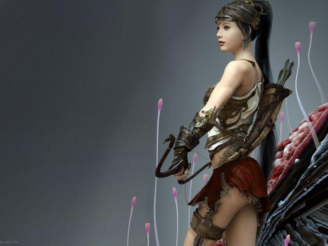 Arts girl soldier arrows weapon warrior wallpaper