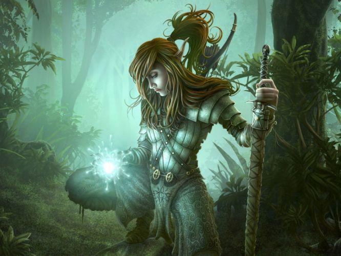 Arts girl soldier magic armor sword wood warrior wallpaper