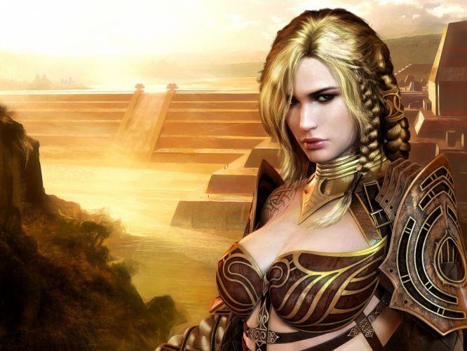 Arts girl soldier suit arena warrior wallpaper